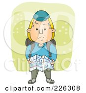 Royalty Free RF Clipart Illustration Of A Nervous Man Lost In A City by BNP Design Studio
