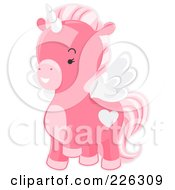 Royalty Free RF Clipart Illustration Of A Cute Pink Winged Unicorn Prancing by BNP Design Studio