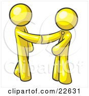 Poster, Art Print Of Yellow Man Wearing A Tie Shaking Hands With Another Upon Agreement Of A Business Deal