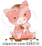Royalty Free RF Clipart Illustration Of A Cute Pig Bathing In Mud