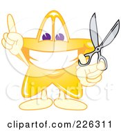 Royalty Free RF Clipart Illustration Of A Star School Mascot Holding Scissors