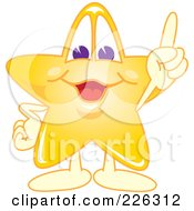 Royalty Free RF Clipart Illustration Of A Star School Mascot Pointing Upwards