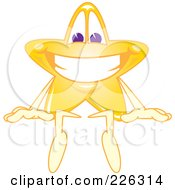 Royalty Free RF Clipart Illustration Of A Star School Mascot Sitting On Top Of A Blank Sign by Toons4Biz
