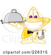 Royalty Free RF Clipart Illustration Of A Star School Mascot Waiter Serving A Platter