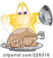 Royalty Free RF Clipart Illustration Of A Star School Mascot Serving A Thanksgiving Turkey