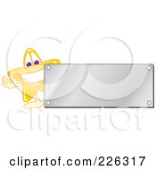 Royalty Free RF Clipart Illustration Of A Star School Mascot Logo Over With A Blank Silver Plaque