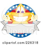 Royalty Free RF Clipart Illustration Of A Star School Mascot Logo Over An American Circle And Blank Banner