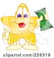 Star School Mascot Holding Cash