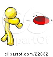 Clipart Illustration Of A Yellow Man Tossing A Red Flying Disc Through The Air For Someone To Catch by Leo Blanchette