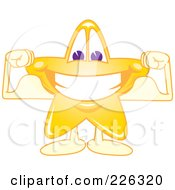 Royalty Free RF Clipart Illustration Of A Star School Mascot Grinning And Flexing