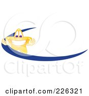 Royalty Free RF Clipart Illustration Of A Star School Mascot Logo Over A Blue Dash