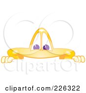 Royalty Free RF Clipart Illustration Of A Star School Mascot Looking Over A Blank Sign by Toons4Biz