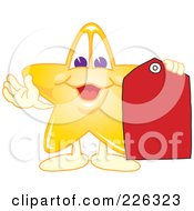 Royalty Free RF Clipart Illustration Of A Star School Mascot Holding A Red Price Tag by Toons4Biz