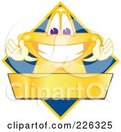 Star School Mascot Logo Over A Blue Diamond And Blank Gold Banner