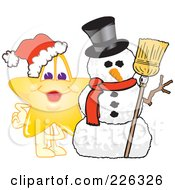 Royalty Free RF Clipart Illustration Of A Star School Mascot With A Snowman
