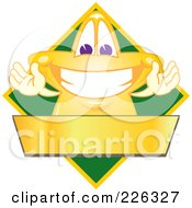 Royalty Free RF Clipart Illustration Of A Star School Mascot Logo Over A Green Diamond And Blank Gold Banner