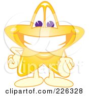 Royalty Free RF Clipart Illustration Of A Star School Mascot Pointing Outwards