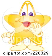 Royalty Free RF Clipart Illustration Of A Star School Mascot Whispering