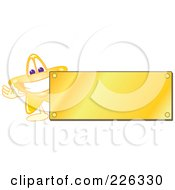 Royalty Free RF Clipart Illustration Of A Star School Mascot Logo Over With A Blank Gold Plaque