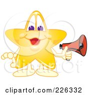 Royalty Free RF Clipart Illustration Of A Star School Mascot Holding A Megaphone by Toons4Biz