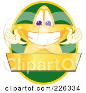 Royalty Free RF Clipart Illustration Of A Star School Mascot Logo Over A Green Oval And Blank Gold Banner