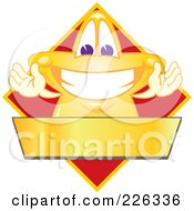 Royalty Free RF Clipart Illustration Of A Star School Mascot Logo Over A Red Diamond And Blank Gold Banner