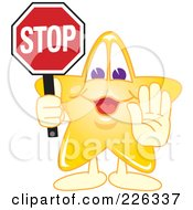 Star School Mascot Holdin A Stop Sign