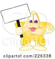 Star School Mascot Holding Up A Blank Sign