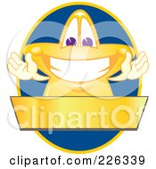 Royalty Free RF Clipart Illustration Of A Star School Mascot Logo Over A Blue Oval And Blank Gold Banner