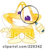 Royalty Free RF Clipart Illustration Of A Star School Mascot Using A Magnifying Glass