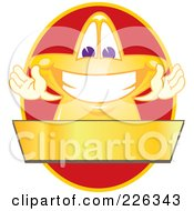 Royalty Free RF Clipart Illustration Of A Star School Mascot Logo Over A Red Oval And Blank Gold Banner