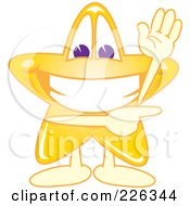 Royalty Free RF Clipart Illustration Of A Star School Mascot Waving And Pointing