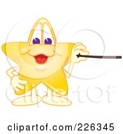 Royalty Free RF Clipart Illustration Of A Star School Mascot Holding A Pointer Stick