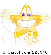 Royalty Free RF Clipart Illustration Of A Star School Mascot Jumping