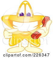 Royalty Free RF Clipart Illustration Of A Star School Mascot Holding A Phone