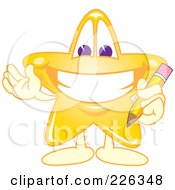 Royalty Free RF Clipart Illustration Of A Star School Mascot Holding A Pencil