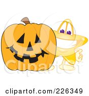 Royalty Free RF Clipart Illustration Of A Star School Mascot Standing By A Halloween Pumpkin