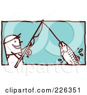 Royalty Free RF Clipart Illustration Of A Stick Man Reeling In A Fish On A Pole