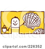 Royalty Free RF Clipart Illustration Of A Stick Man Collecting Shells On The Beach