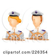 Royalty Free RF Clipart Illustration Of A Digital Collage Of Male And Female Captain Avatars by BNP Design Studio