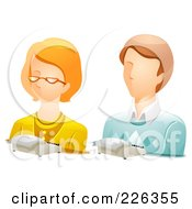 Royalty Free RF Clipart Illustration Of A Digital Collage Of Male And Female Stenographer Avatars by BNP Design Studio