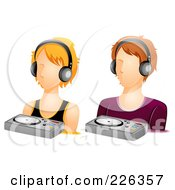 Royalty Free RF Clipart Illustration Of A Digital Collage Of Male And Female DJ Avatars by BNP Design Studio