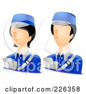Royalty Free RF Clipart Illustration Of A Digital Collage Of Male And Female Courier Avatars by BNP Design Studio