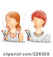 Royalty Free RF Clipart Illustration Of A Digital Collage Of Male And Female Artist Avatars