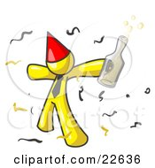 Happy Yellow Man Partying With A Party Hat Confetti And A Bottle Of Liquor