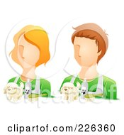 Royalty Free RF Clipart Illustration Of A Digital Collage Of Male And Female Groomer Avatars by BNP Design Studio
