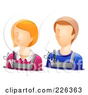 Royalty Free RF Clipart Illustration Of A Digital Collage Of Male And Female Hair Stylist Avatars by BNP Design Studio