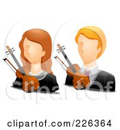 Royalty Free RF Clipart Illustration Of A Digital Collage Of Male And Female Violinist Avatars