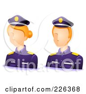 Digital Collage Of Male And Female Police Avatars