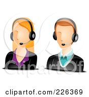 Digital Collage Of Male And Female Customer Service Avatars